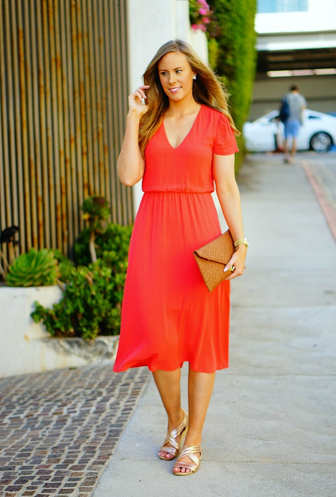 1 wayf blouson midi dress coral los angeles blogger lauren slade santa monica sunset style elixir fashion blog