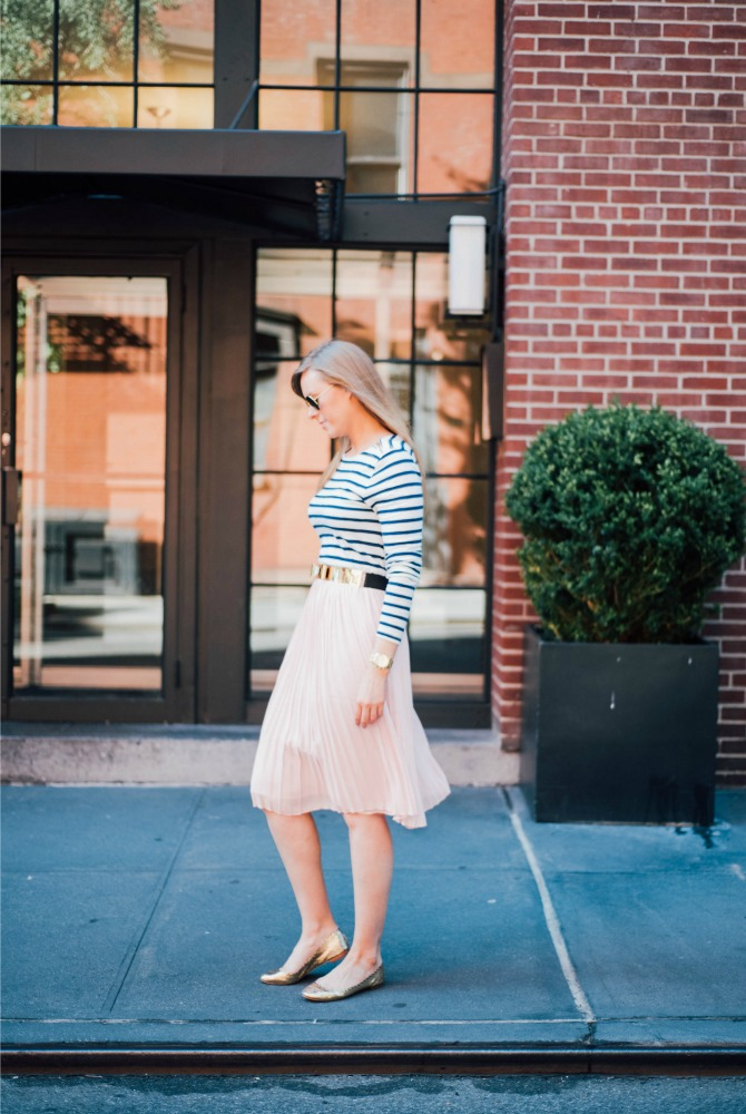 3-blush-knife-pleat-midi-skirt-with-stripe-top-lauren-slade-gold-metallic-ballet-flats-loefler-randall-new-york-fashion-blogger-style-elixir-blog-outfit-ideas-best-pinterest-fashion