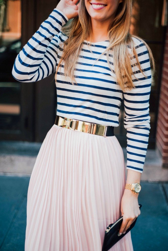 4-blush-knife-pleat-midi-skirt-with-stripe-top-lauren-slade-gold-metallic-ballet-flats-loefler-randall-new-york-fashion-blogger-style-elixir-blog-outfit-ideas-best-pinterest-fashion
