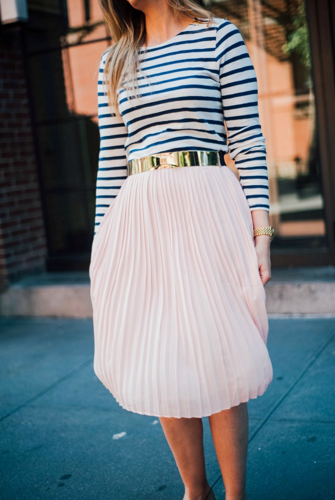 8-blush-knife-pleat-midi-skirt-with-stripe-top-lauren-slade-gold-metallic-ballet-flats-loefler-randall-new-york-fashion-blogger-style-elixir-blog-outfit-ideas-best-pinterest-fashion