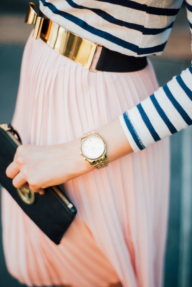 9-blush-knife-pleat-midi-skirt-with-stripe-top-lauren-slade-gold-metallic-ballet-flats-loefler-randall-new-york-fashion-blogger-style-elixir-blog-outfit-ideas-best-pinterest-fashion