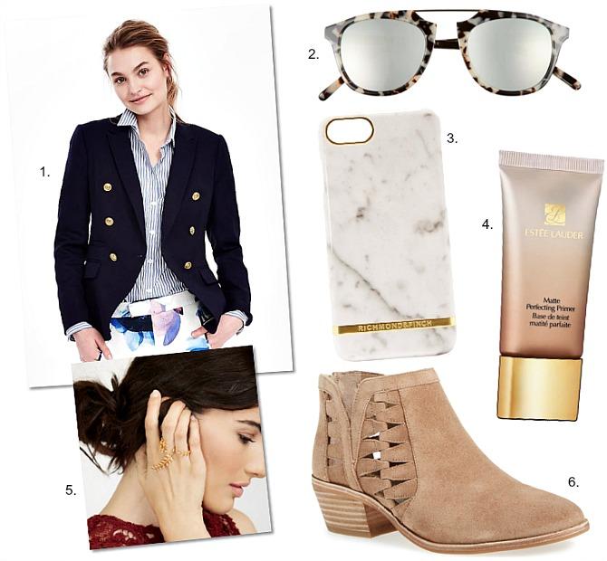 fall-fashion-shopping balmain style blazer vince camuto peera bootie estee lauder primer mirrored sunglasses style elixir