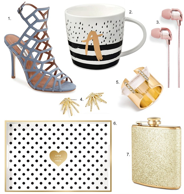party-season-gold-gift-ideas-polka-dot-stripe-monogram-mug-gold-glitter-flask-steve-madden-slither-grey-heels