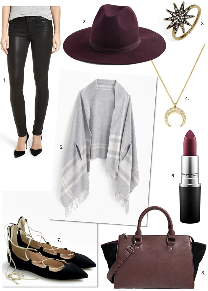 the-mindy-project-black-leather-pants-sale-burgundy-wool-hat-crescent-moon-necklace-plum-lipstick-black-gold-lace-up-flats-j-crew-fall-fashion-ideas