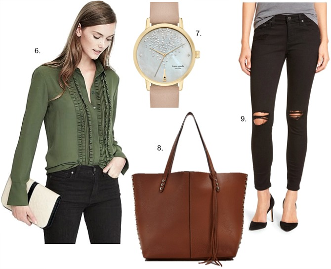 fall-weekend-outfit-ideas-ruffle-olive-green-military-shirt-kate-spade-champagne-watch-rebecca-minkoff-tan-tote-ag-black-distressed-legging-jeans
