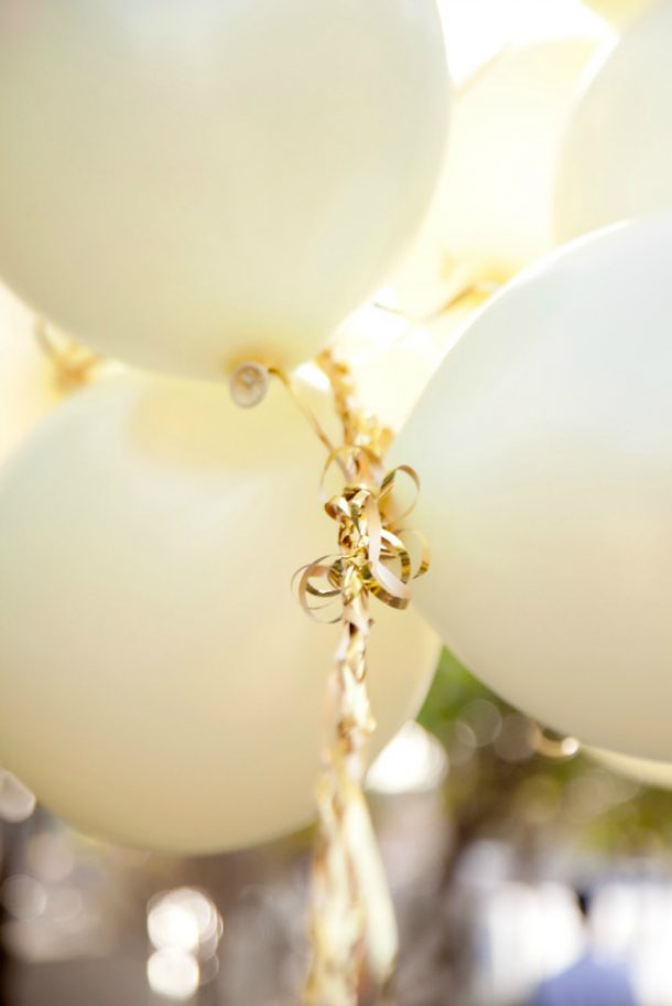 white and gold balloons birthday
