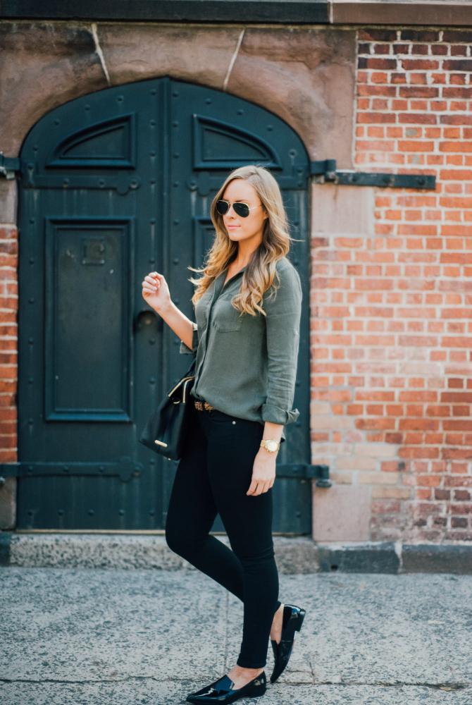 military style shirt with black jeans and black patent point derek lam shoes gigi new york monogram handbag fashion in soho new york