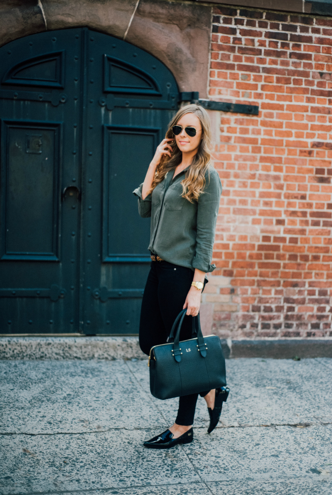 military style shirt with black jeans and black patent point derek lam shoes gigi new york monogram handbag fashion in soho new york