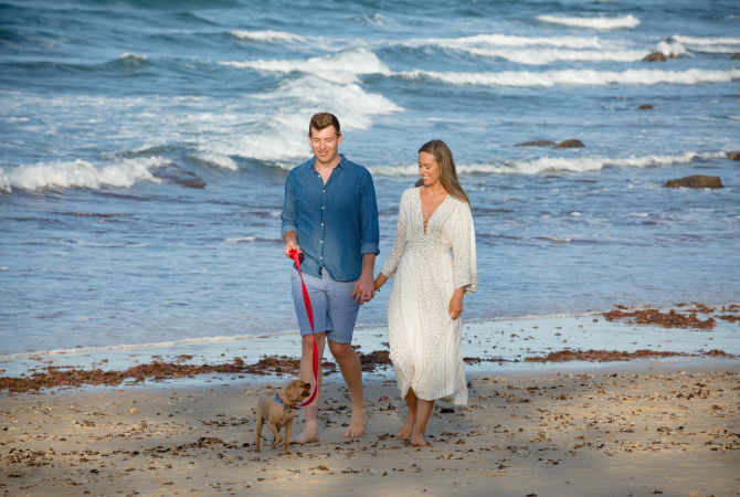 engagement photoshoot on the beach with dog free people dress bohemian wedding couple photos engagement photo outfits for men and dresses