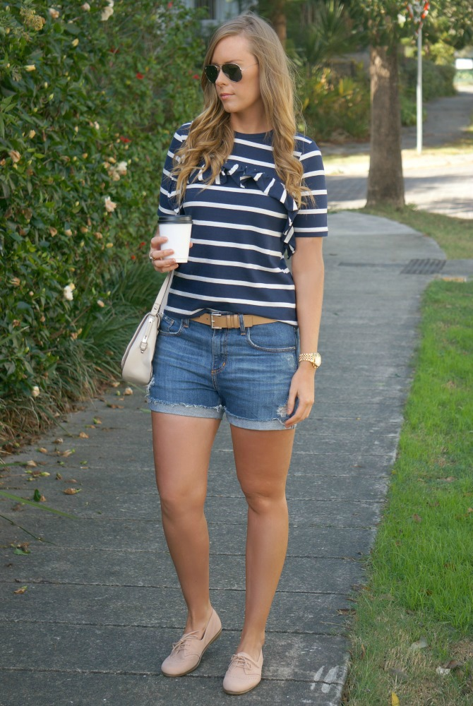 1-stripe-ruffle-top-denim-distressed-cut-off-shorts-french-connection-bag-lauren-slade-fashion-blogger-style-elixir-blog-1