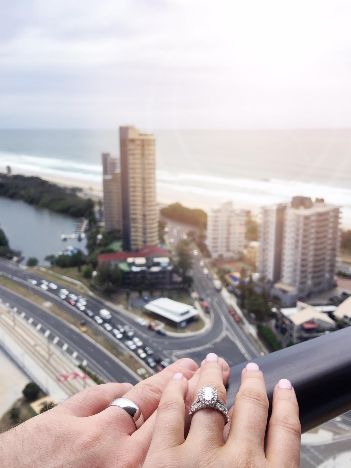 surfers paradise marriott resort and spa gold coast australia beach honeymoon romantic couples holiday luxury vacation oval engagement ring diamond wedding band