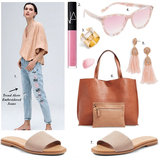 spring outfit ideas fashion embroidered jeans Emerson Slim Boyfriend Jeans tan slides sandals tassel earrings