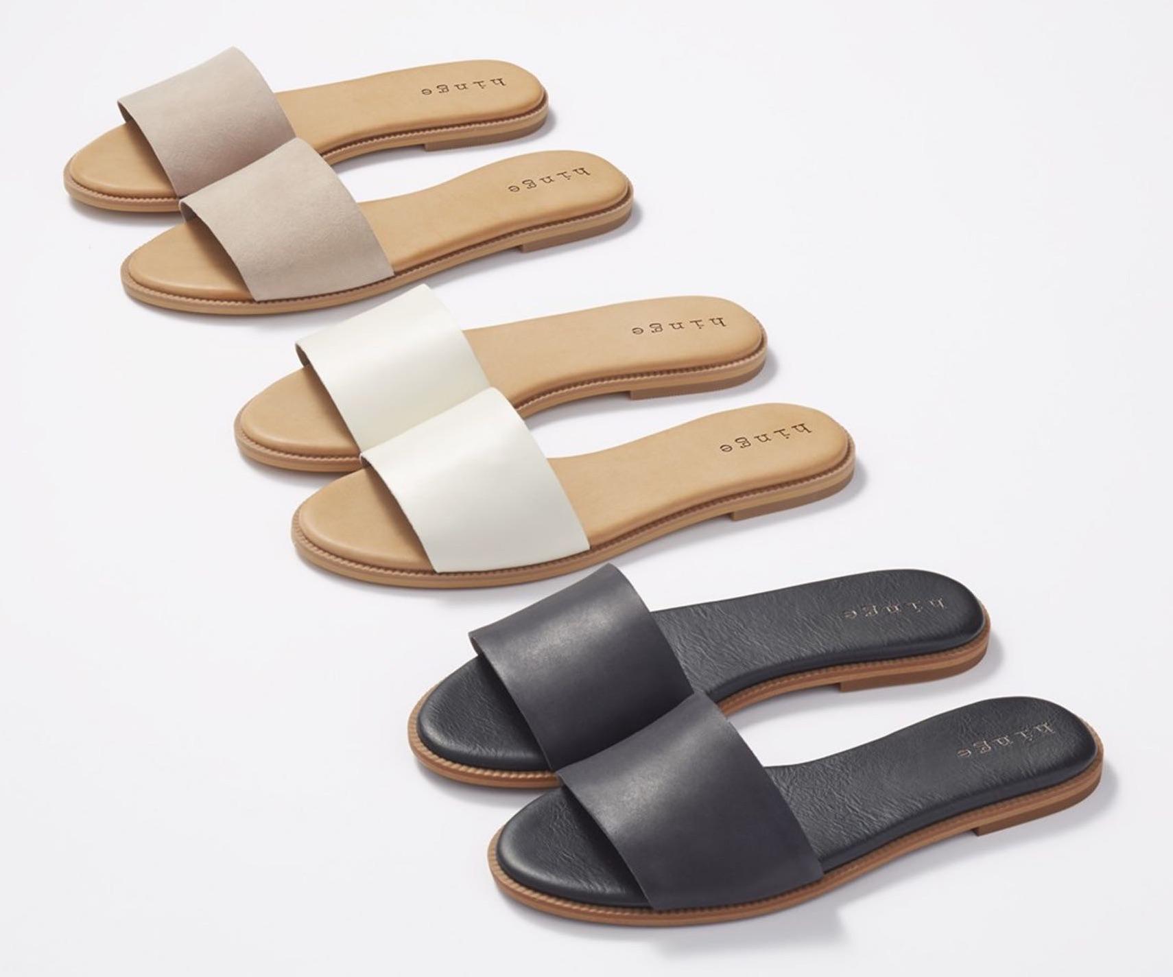 hinge leather slide sandals