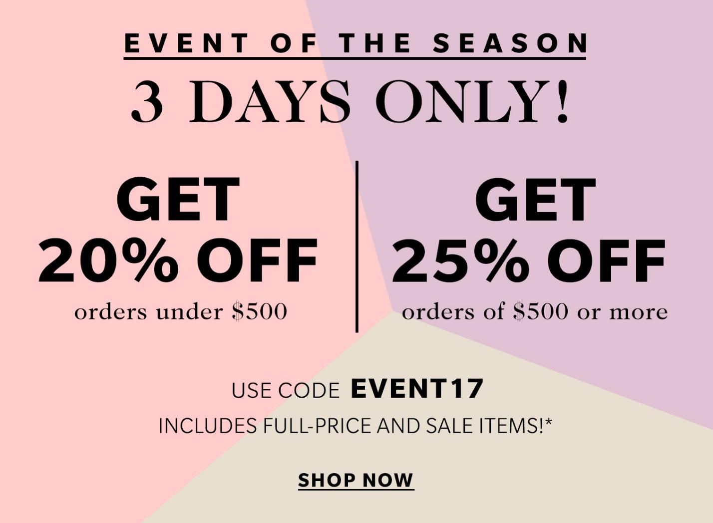 shopbop sale coupon code discount promo family and friends sale