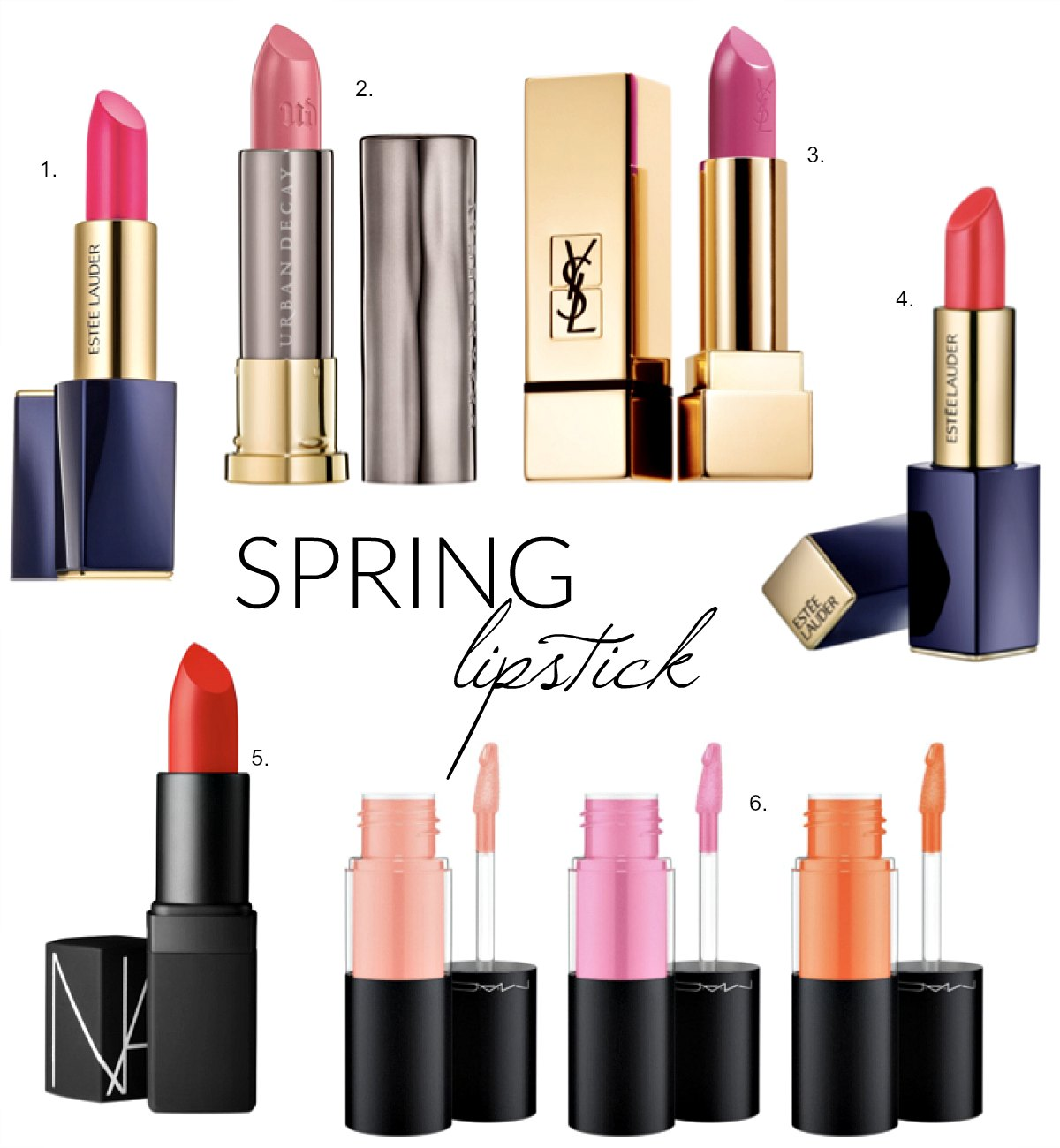 best spring lipstick colors estee lauder ysl mac urban decay makeup review