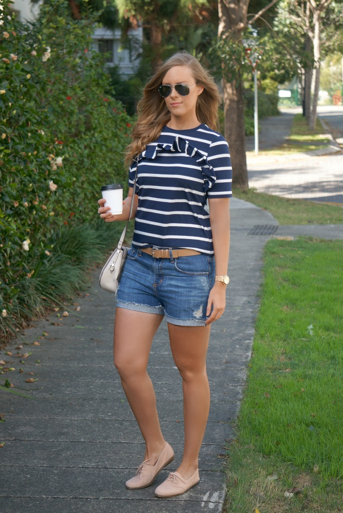navy and white stripe top with distressed denim shorts summer outfit ideas lauren slade style elixir los angeles fashion blogger 5