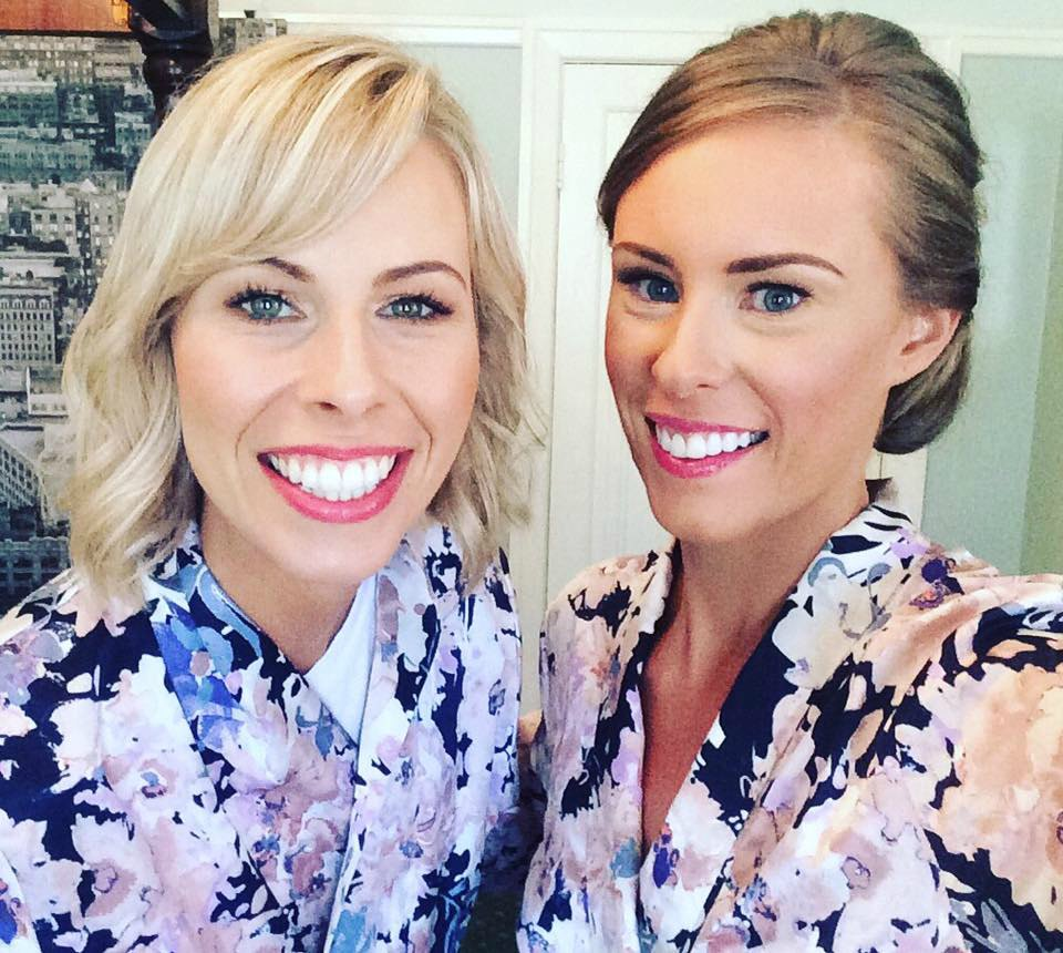 papinelle floral bridesmaid robes sisters wedding day photo