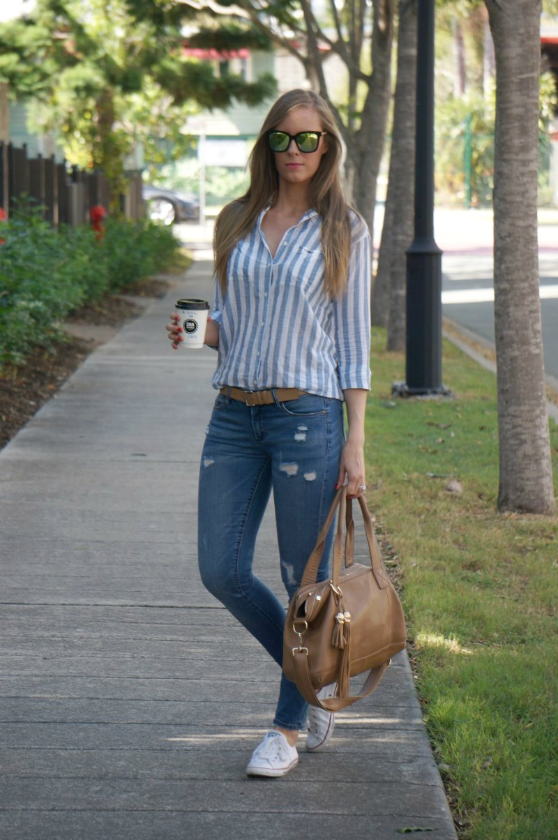 1 diff eyewear ripped jeans converse stripe shirt casual weekend outfit ideas
