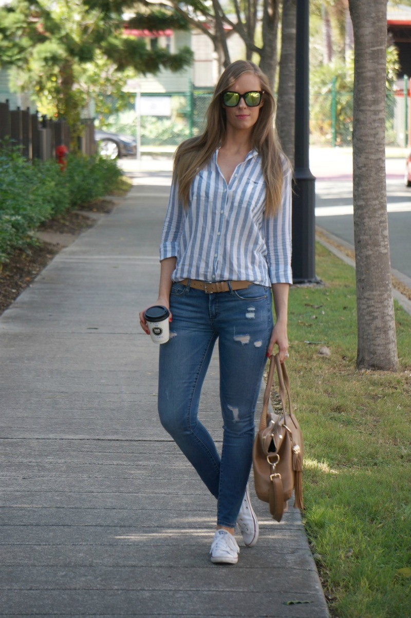 2 diff eyewear ripped jeans converse stripe shirt casual weekend outfit ideas
