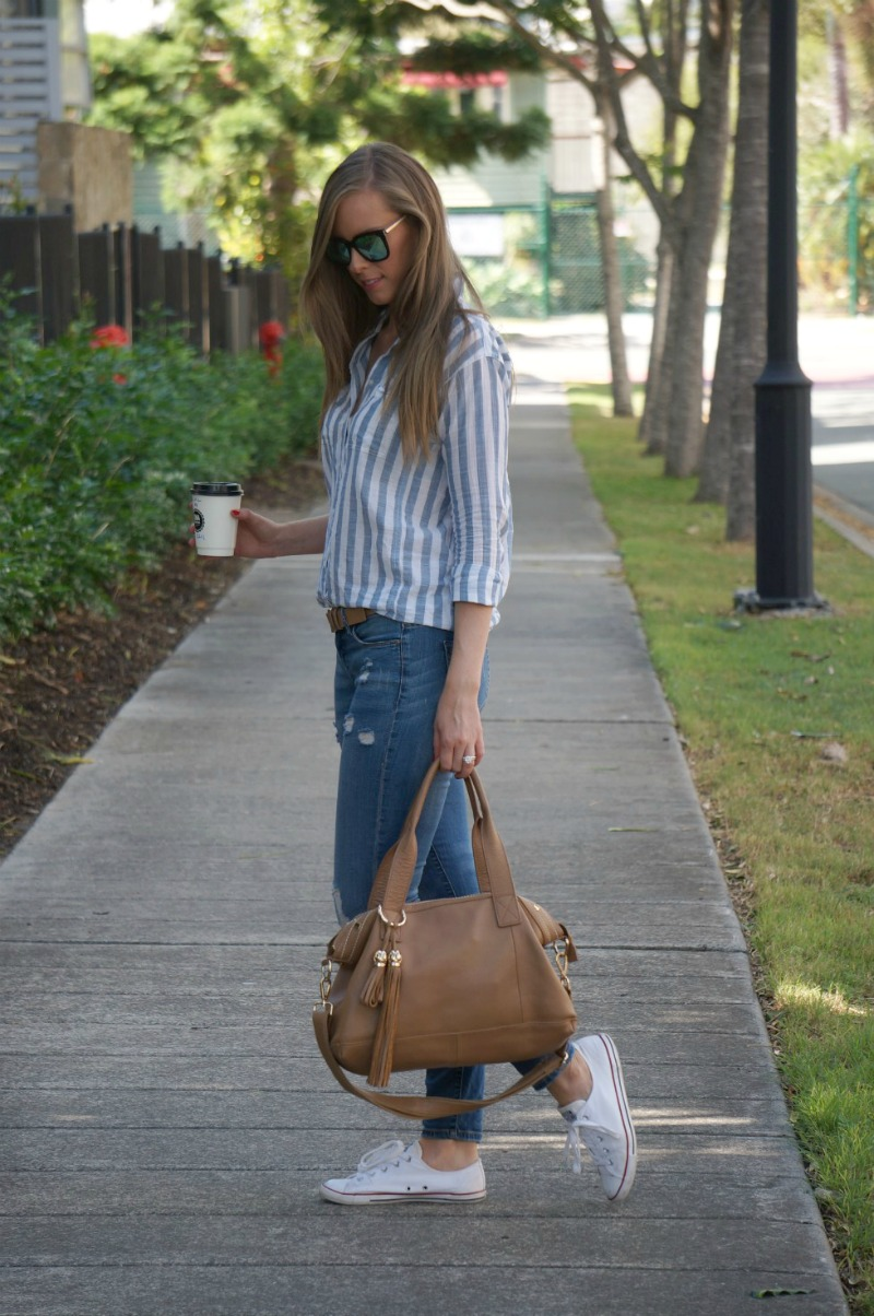 3 diff eyewear ripped jeans converse stripe shirt casual weekend outfit ideas
