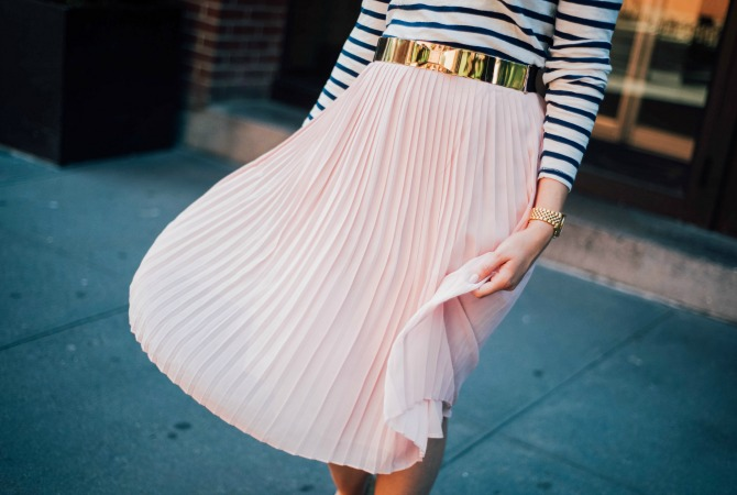 7-blush-pleated-midi-skirt-with-stripe-top-lauren-slade-gold-metallic-ballet-flats-loefler-randall-new-york-fashion-blogger-style-elixir-blog-outfit-ideas-best-pinterest-fashion