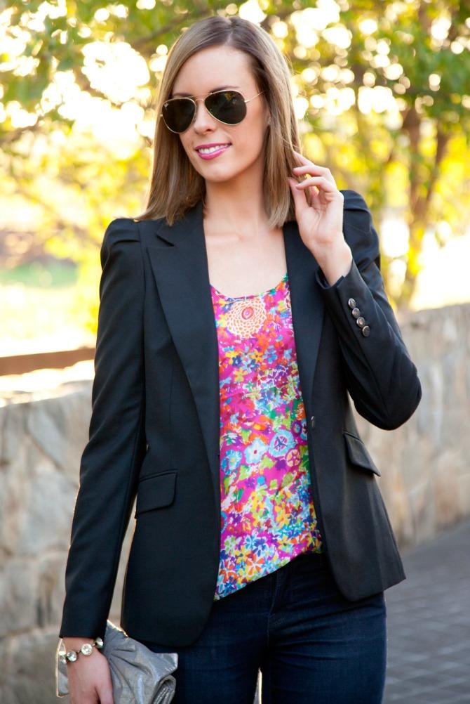 black shoulder detail jacket How to wear a blazer