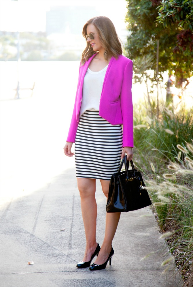 fuchsia tops dvf bright pink jacket with stripes and bright outfit ideas