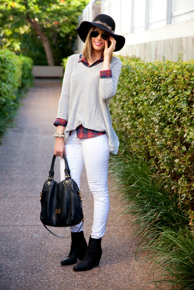 Easy Thanksgiving Outfit Idea plaid shirt grey sweater weather 2