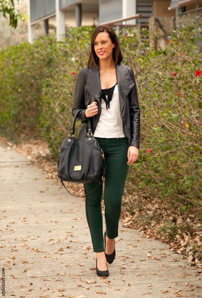 b45a37840e27f 1 Green Jeans Black Leather Jacket Vince Marc Jacobs Handbag Stud Heels  Kardashian Kollection Sunglasses Style