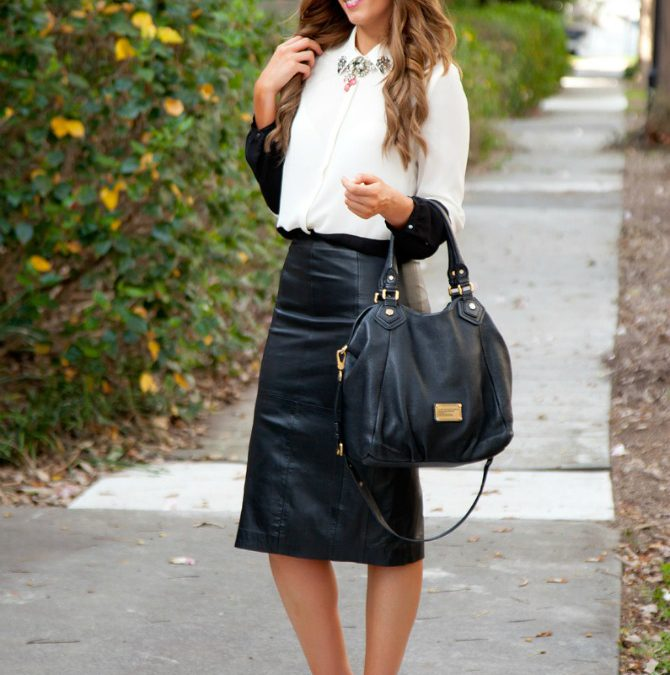 Style Sessions Fashion Link Up: Color Block Top and a Black Leather Skirt