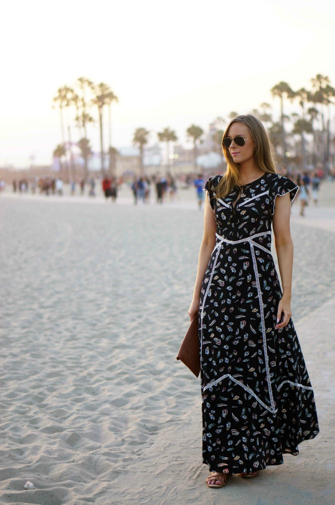 1 Style-Elixir-Santa-Monica beach style fashion Boho Chic - The Kooples Silk Feather Maxi Dress la fashion blog lauren slade boho fashion | Boho Maxi Dress featured by popular US style blogger Style Elixir