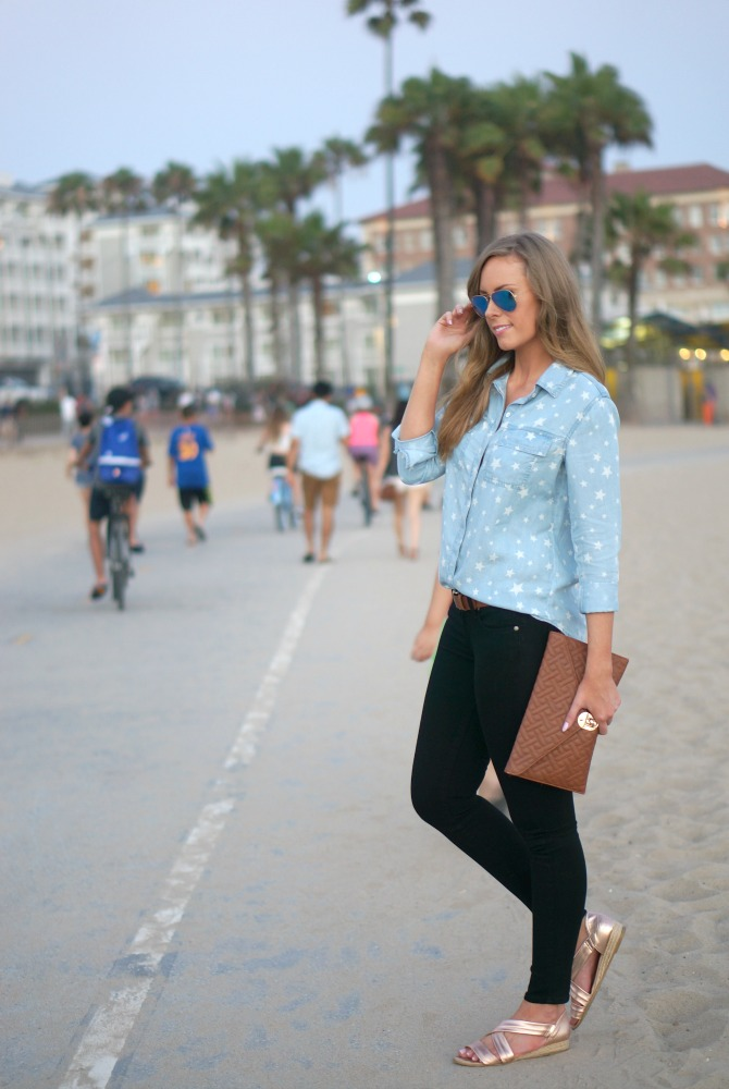 Splendid Star Chambray Shirt kate hudson blue mirror rayban aviators paige denim jeans lauren slade los angeles fashion blogger style elixir blog santa monica