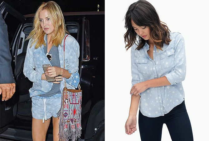 splendid la kate hudson star chambray shirt outfit - 4th of July Outfit Idea - Star Chambray Shirt featured by popular US fashion blogger Style Elixir