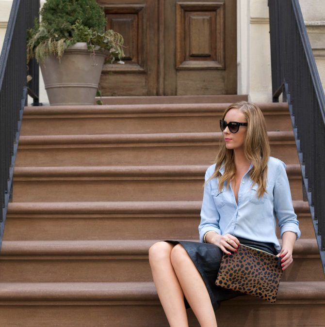 Style Sessions – The Black Leather Pencil Skirt, Chambray and Leopard Outfit Combo Every Girl Should Wear