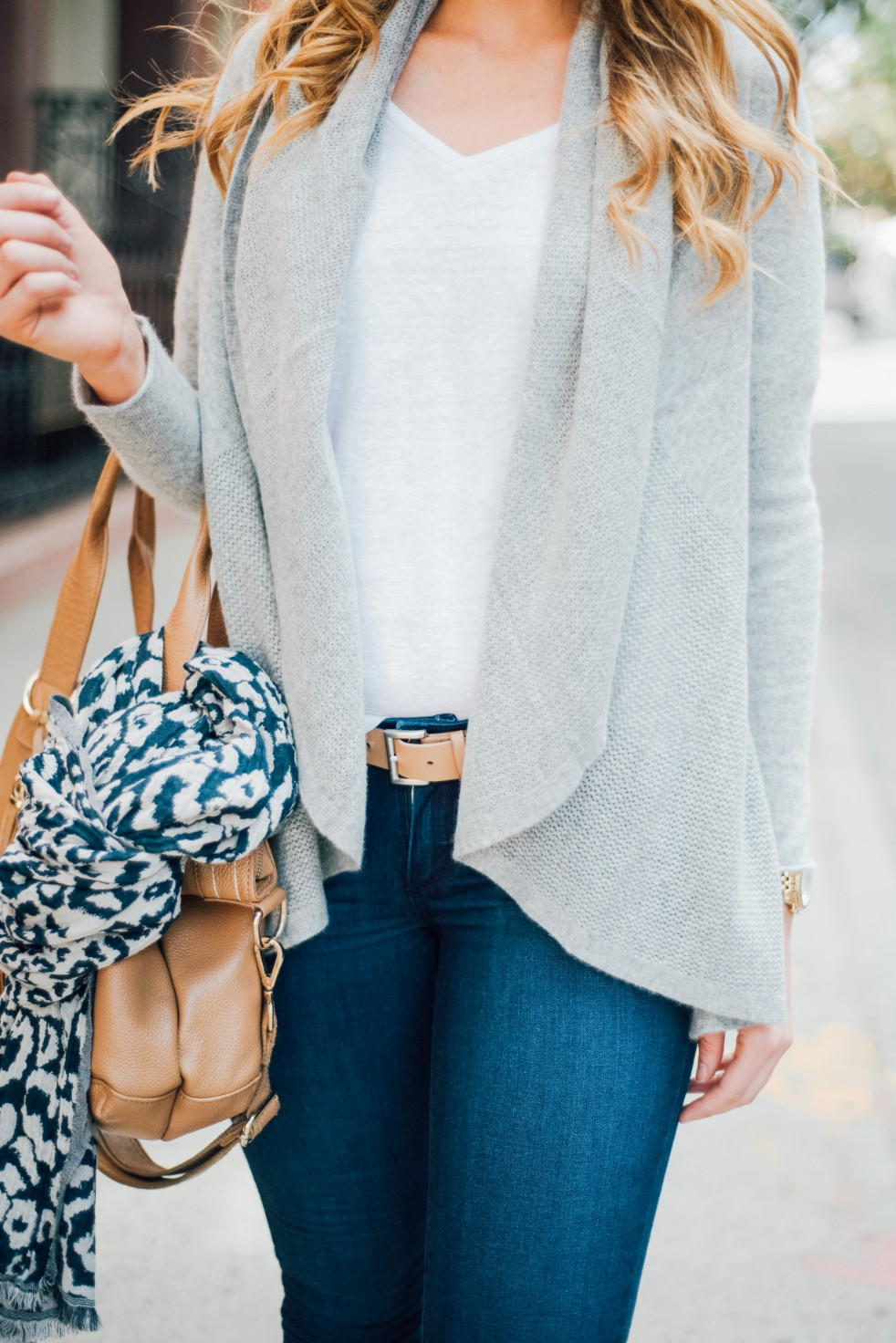 3 Wardrobe Basics Every Stylish Girl Needs grey cashmere sweater paige blue denim jeans white linen tee