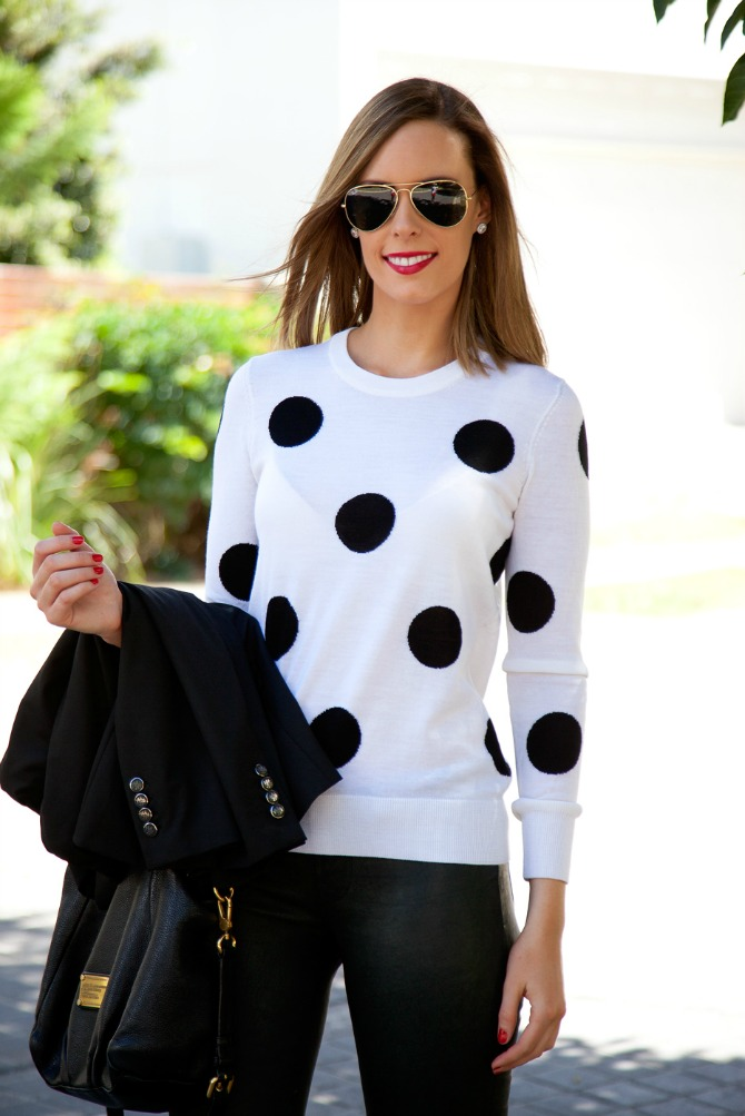 the best leather pants j brand l8001 polka dot sweater