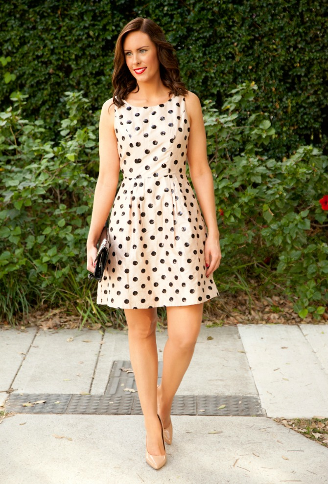New Years Eve Outfits sequin polka dot fit and flare dress kate spade style blush pink party dresses 5