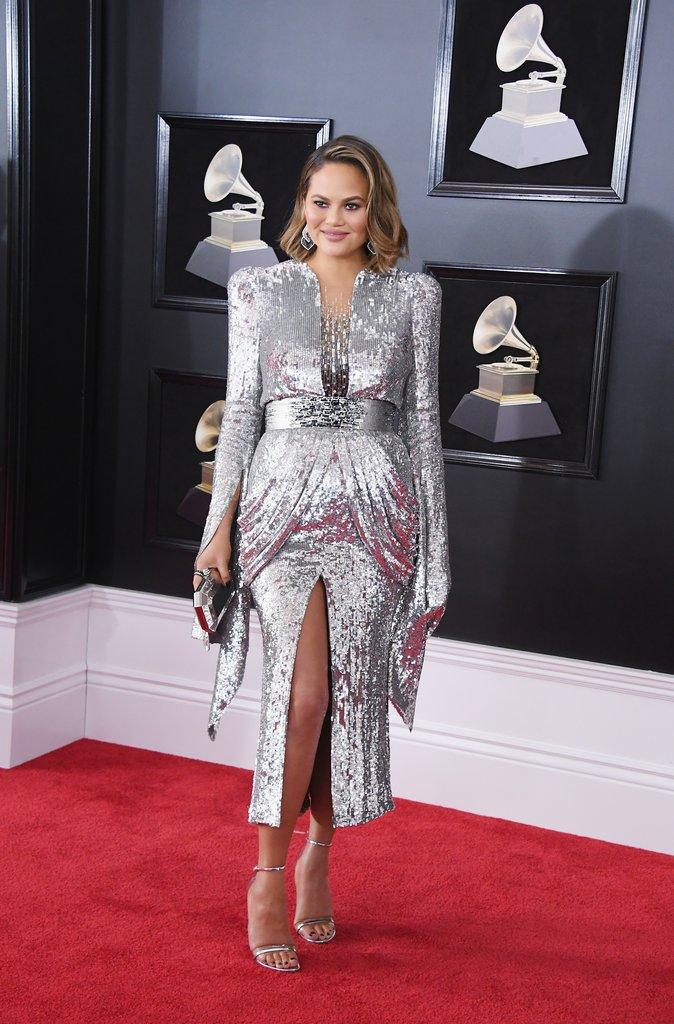 Chrissy-Teigen Grammy Awards Red Carpet Fashion 2018 silver sequin dress