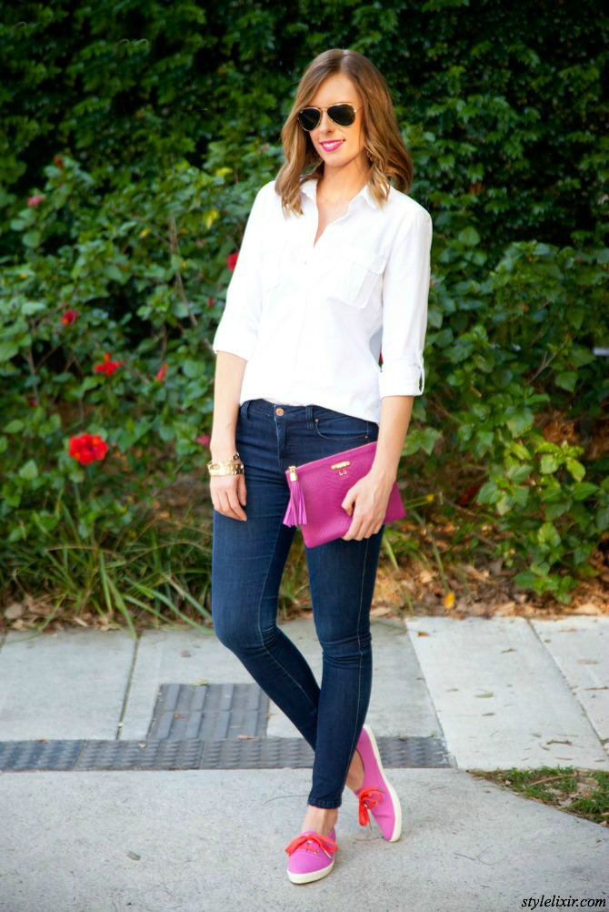 Valentine's Day Outfit Ideas fashion blogger style elixir lauren slade white shirt jeans outfit gigi new york clutch