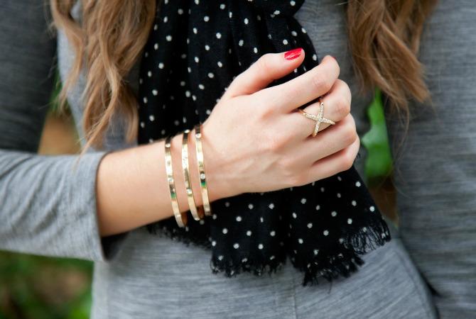 black white polka dot scarf x ring gold bangles fashion blogger jewelry style elixir
