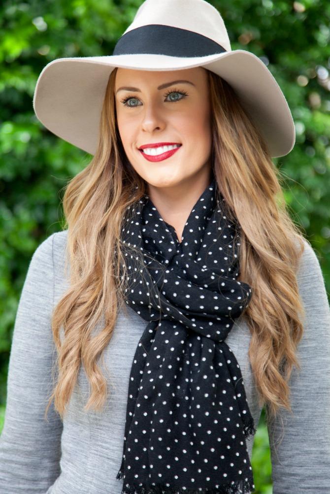 grey sweater dress outfit ideas fashion blogger style elixir lauren slade wool floppy hat polka dot scarf