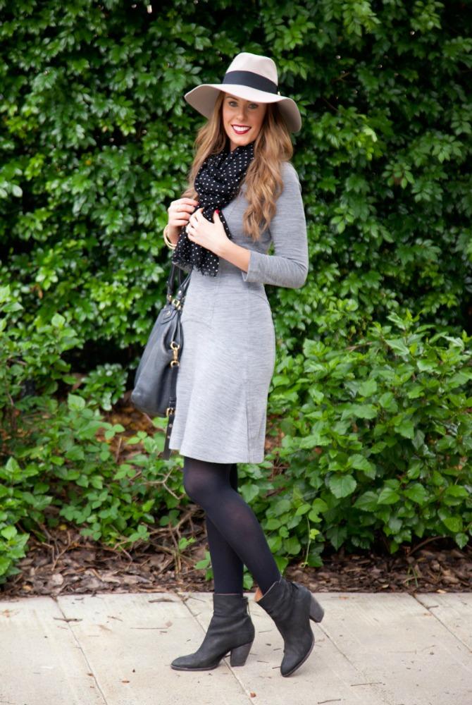 grey sweater dress wool floppy hat outfit ideas fashion blogger style elixir lauren slade