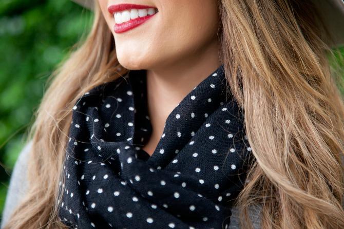 polka dot scarf grey sweater dress outfit ideas fashion blogger style elixir lauren slade