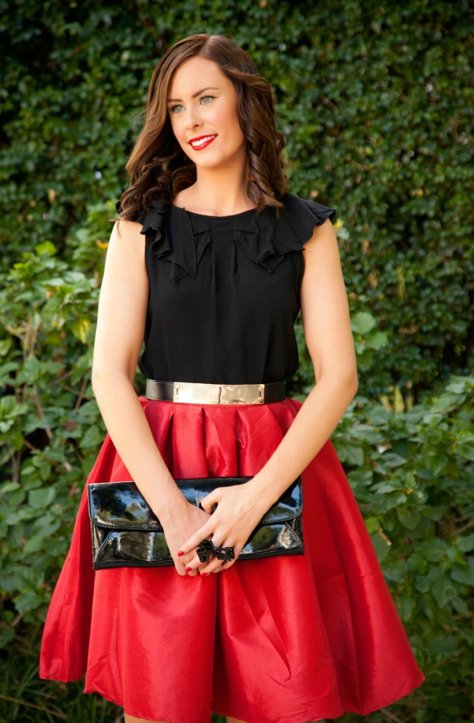 valentine's day outfit ideas red fit n flare skirt fashion blogger 5