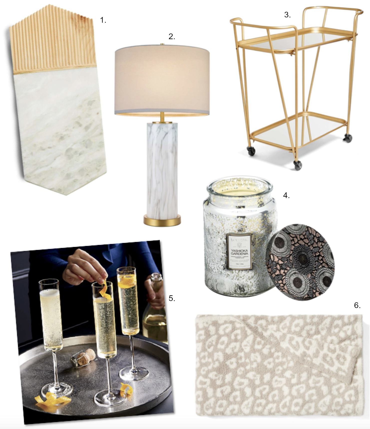 Beautiful Homewares cupcakes and cashmere marble lamp gold bar cart gossip girl champagne glasses khlow kardashian leopard throw blanket