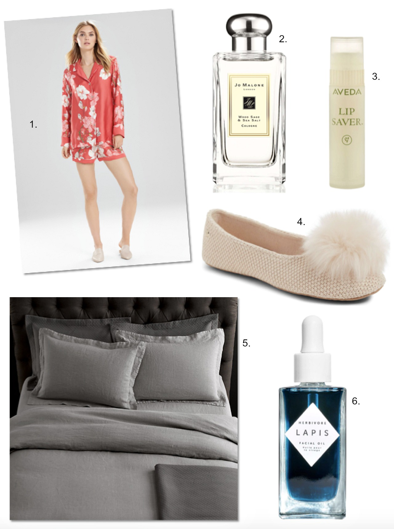 bedtime luxury sleepwear linen sheets ugg slippers jo malone wood sage and sea salt perfume