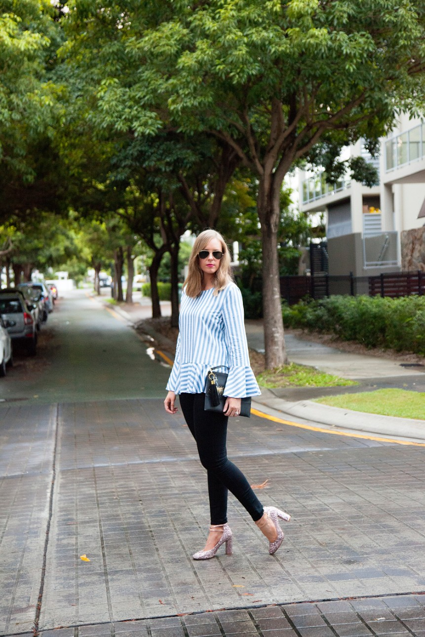 blue and white stripe ruffle sleeve top kate spade glitter heels fashion blogger outfit ideas 1