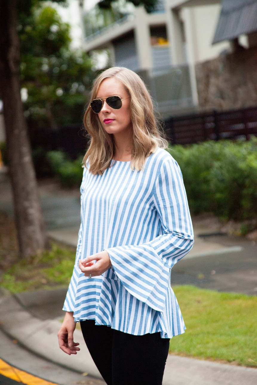 blue and white stripe ruffle sleeve top kate spade glitter heels fashion blogger outfit ideas 2