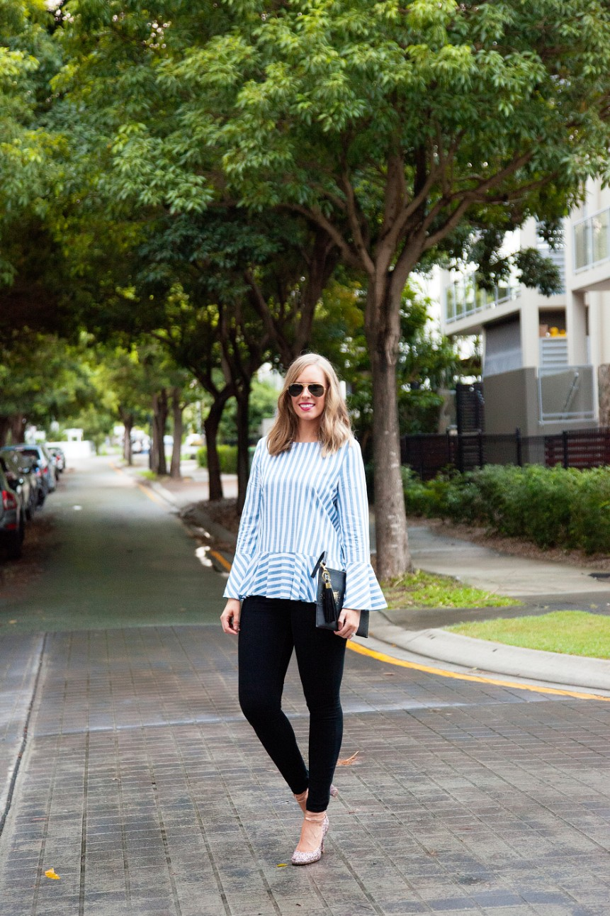 blue and white stripe ruffle sleeve top kate spade glitter heels fashion blogger outfit ideas 3