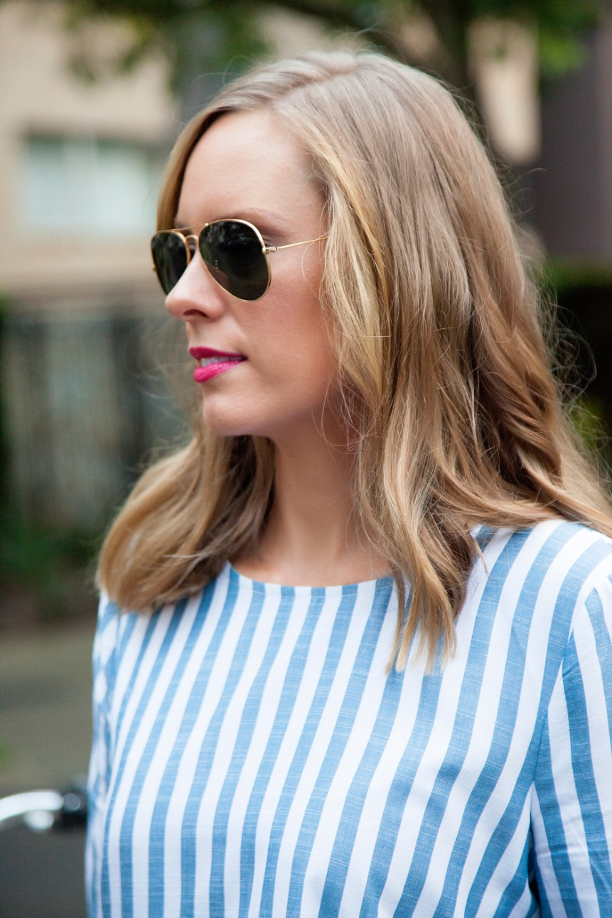 blue and white stripe ruffle sleeve top kate spade glitter heels fashion blogger outfit ideas 5